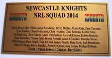 NRL Newcastle Knights Squad 2014 Plaque Gold  free post 120mmx60mm