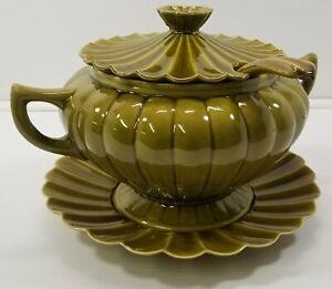 AG) Vintage Large Green Soup Tureen Serving Bowl, Plate, Lid, Ladle California