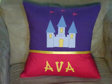 CHILD'S/GIRS PERSONALISED NAME CUSHION COVER/NURSERY/SHOWER/GIFT - CASTLE  -
