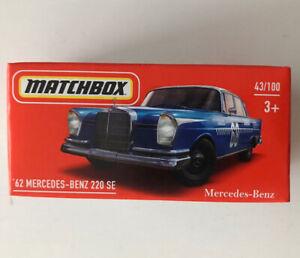 2021 MATCHBOX #43 - '62 Mercedes-Benz 220 SE (Blue - Mix 5) 1x Power Grab - New