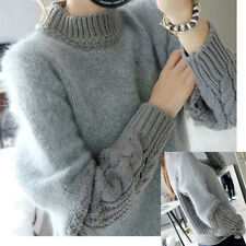 Womens Ladies Wool Loose Style Plus Pullover Turtleneck Hallow Cardigans Sweater