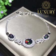 Natural Australian Black Opal Nebula Stones 925 Sterling Silver Women Bracelets
