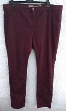 M&S Indigo Collection UK 20 Burgundy Red Trousers Straight Leg Jeans Short 27""