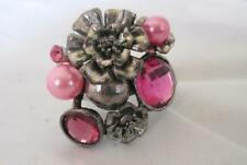 Pink Flower Statement Ring Silver Tone Accents Pink Acrylic Stones & Beads
