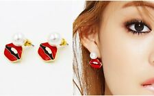 E915 Betsey Johnson Sexy Party Red Lips with Pearl 2 Way Use Stud Earrings UK