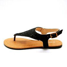 Top Moda Womans Bonus 5 Ankle Strap Thong Sandal Black Beaded Sz 6 M NEW