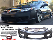 NEW 2012 2015 HONDA CIVIC 9TH GEN 4D SI FG JDM TYPE R FRONT BUMPER+TYPE R GRILL