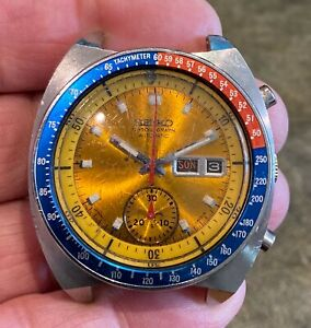 Vintage Seiko Pogue Chronograph Men's Wrist Watch 6139-6002 Stainless Steel For