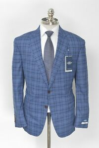NWT HART SCHAFFNER MARX New York Blue Gingham Wool Sport Coat 44 R (EU 54)