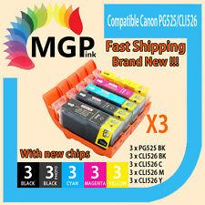 15x inks for Canon PGI525 BK CLI526 PIXMA MX715 MX885 MX895 IP4800 IP4850 Chip