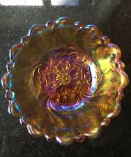 Vintage Carnival Glass Indiana Amber  Marigold Iridescent Wild Rose Serving Bowl
