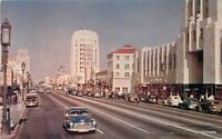 1940s Miracle Mile Chrome Los Angeles California autos Roberts postcard 8128