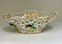 Antique Dresden Continental Pierced Porcelain Basket