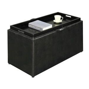 Convenience Concepts Designs4Comfort Sheridan Bench, 2 Ottomans, Blk - 143051