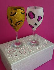 2 Vasos De Brillo Oro Rosa Leopardo Boda Novia Cumpleaños Regalo De Navidad