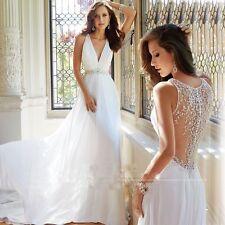 New  V-Neck Chiffon Beach Wedding Dresses Bridal Gown Custom size 4-18+++