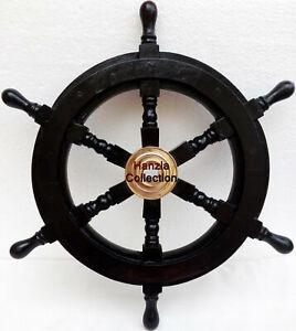 18'' BLACK WOOD Nautical Decorative Ship Wheel Captain's Boat Steering DECOR