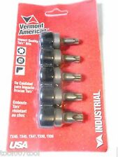 Vermont American 80470 5-Piece Square 3/8 Drive Bit Set For Torx Screws