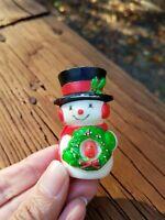 Vintage Hallmark Christmas Holiday Lapel Pin Snowman Holding Wreath Red Green