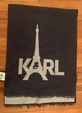 MWT Karl Lagerfeld Paris Eiffel Tower Logo Muffler Scarf Black Grey Knit $48