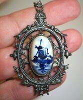 """Vintage Blue White Porcelain Pendant Necklace DELFT Windmill Silver Tone 20"""""""