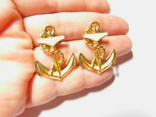 Avon Cream Enamel Nautical Gold Tone Metal Anchor Pierced Earrings Vintage