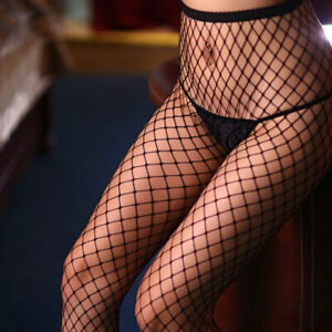 Crotchless Sexy Fishnet Stockings Pantyhose Tights Crotch Open Black/Red