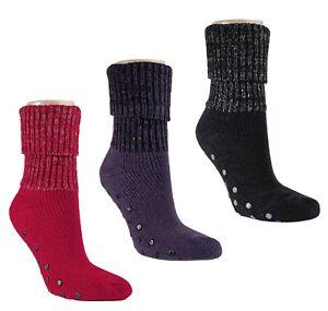 Damen Stopper Socken mit Umschlagrand und ABS Sohle, extra warm!