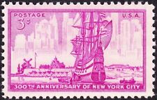US - 1953 - 3 Cents Bright Red Violet New York City Anniversary # 1027 Mint NH