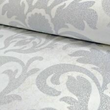 P&S CARAT DAMASK GLITTER WALLPAPER - SILVER AND WHITE - 13343-20 WALL DECOR NEW