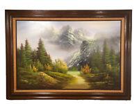 Vintage Original Oil Painting Mountains Forest Landscape 43.25x31.25 Wood Frame