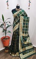 Banarasi Bandhani saree Indian bridal wedding women sarees blouse ethnic dress