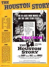 THE HOUSTON STORY pressbook, Gene Barry, Barbara Hale, Edward Arnold FILM NOIR