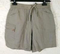 j jill Womens Size 6 100% Linen Green Shorts Elastic Waist Pockets