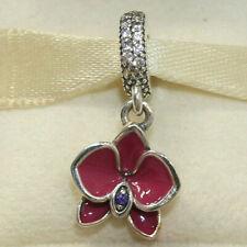 New Authentic Pandora Charm Purple Orchid Dangle 791554EN69 W Tag & Suede Pouch