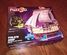 PUZZ 3D PIRATE SHIP FOAM BACKED PIECES 358 INTERMEDIATE PUZZLE GLOW DARK .. EUC
