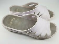 Sunway size 7 (40) white rubber wedge heel sliders mules sandals beach shoes