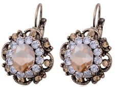 Lovely Nude Crystal Rhinestone Gold Stud Hoop Drop Earrings Diamante Pierced E29