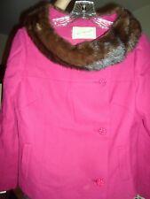 Vintage Desmond's So Cal Fuschia with Mink Fur Jacket Coat size M
