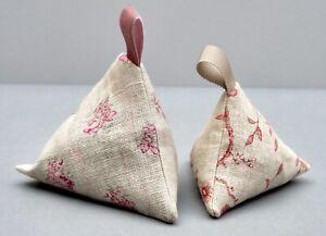 Set of 2 Pyramid Lavender Bags Kate Forman Linen Fabrics Lovely Fragrant Gift