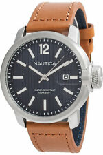 NAUTICA NAPSYD001 Men's WATCH Quartz Analogue with Date BROWN LEATHER NEW