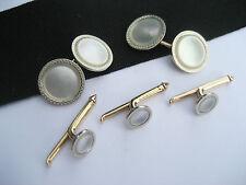 Antique Art Deco Larter & Sons 10K Gold & MOP Cufflinks Stud Buttons Formal Set