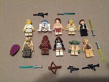 LEGO lot of 10 Star Wars Good Guy Minifigs Yoda Luke Leia Han R2-D2 Chewie Q332