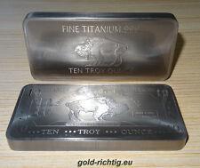 RIESIGER 10 oz Titanbarren Büffel (Titan Barren Titanium Unze Unzen Neu) RARITÄT