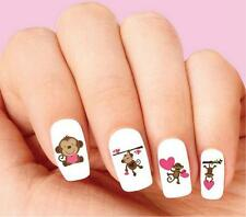 Waterslide Nail Decals Set of 20 - Cute Monkey with Pink Hearts Assorted