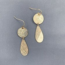 Bohemian Style Gold Finish Circle Shape Tear Drop Style Dangle Stud Earrings