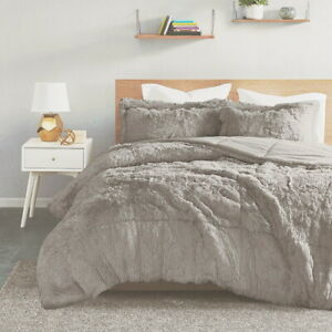 ULTRA SOFT PLUSH GREY FAUX FUR COMFORTER SET : GRAY SHAGGY BEAR HUG BEDDING