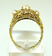 ANTIQUE EDWARDIAN 14K YELLOW GOLD 3 PEARL RING FILIGREE & CHASED EDGES SIZE 5.25