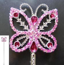 Baguette de fée, papillon, princesse, rose paillettes avec pierres bijoux, 40 cm