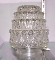 "Vintage Clear ACORN Swirl Cake Tiers GLASS Replace GLoBe 3.25"" Fitter 10012 NEW"
